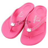 〔小禮堂〕Hello Kitty 水鑽夾腳拖鞋《桃紅‧成人尺寸》輕量無負擔 3086916-271