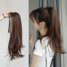 假髮女綁帶式微捲馬尾 中長款直髮辮子 逼真自然髮尾捲假髮片長髮