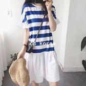 韓國製 條紋荷葉袖拼接白裙洋裝 CC KOREA ~ Q15873