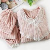 哺乳居家服秋冬季月子服孕婦加厚珊瑚絨哺乳睡衣產后法蘭絨懷孕期家居喂奶衣