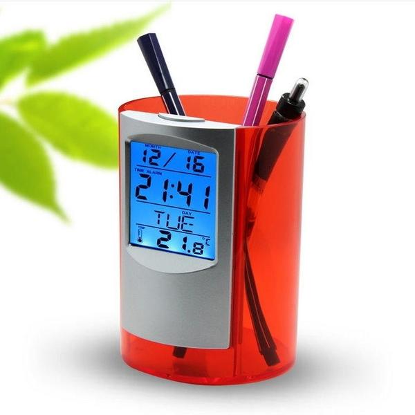 【DG499】筆筒數字鐘-圓形 背光電子萬年曆時鐘 液晶螢幕電子鐘 鐘 溫度計 計時器 EZGO商城
