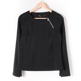 【MASTINA】拉鍊造型亮面上衣2-黑 10501