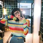 針織長袖 彩虹套頭毛衣女新款早秋初秋輕熟學生慵懶長袖條紋針織衫上衣  維多