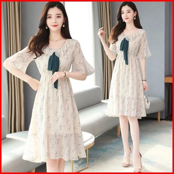 韓國風短袖洋裝 雪紡連衣裙子女裝甜美小清新淺色超仙碎花連身裙 依多多