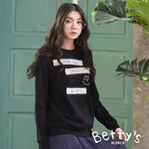betty's貝蒂思 毛布繡線圓領大學T恤(黑色)