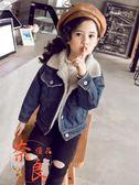 女童牛仔外套韓版洋氣秋冬羊羔絨刷毛加厚冬裝【奈良優品】