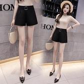 西裝褲 西裝短褲女夏女外穿顯瘦黑色高腰寬鬆a字休閒雪紡短褲-Ballet朵朵