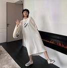 圓領洋裝休閒裙連身裙L-2XL韓版寬鬆大碼純色中長款ins超火過膝短袖T卹女潮NC417-238.皇潮天下
