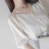 夏季白色雪紡襯衫女設計感小眾v領薄款泡泡短袖方領法式鎖骨上衣 陽光好物