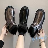 短靴 雪地靴女2019新款防水保暖棉鞋冬加絨坡跟網紅鏡面漆皮短靴馬丁靴 星隕閣