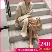 梨卡★現貨 - 韓國氣質中長版顯瘦羊毛黑色針織風衣外套/2色DR051