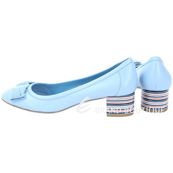Salvatore Ferragamo Elvin40蝴蝶結彩條紋粗跟鞋(天空藍) 1720392-27