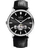 EDOX Les Bemonts Open Vision 薄曼系列機械腕錶-黑 E85021.3.NIN