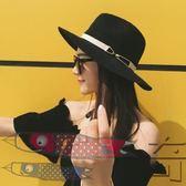 帽子女夏天黑色遮陽度假巴拿馬草帽夏季英倫韓版寬檐沙灘爵士禮帽【奇貨居】