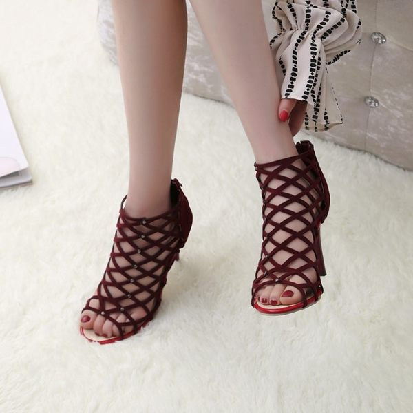 夏季正韓版黑色鏤空高跟鞋性感細跟魚嘴羅馬涼鞋百搭女鞋 街頭布衣