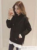 連帽T恤女秋冬季2020年新款韓版寬鬆假兩件加絨外套中長款上衣 牛轉好運到