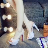 2019新款涼拖鞋女夏時尚12cm超高跟拖鞋粗跟防水臺一字拖魚嘴女鞋