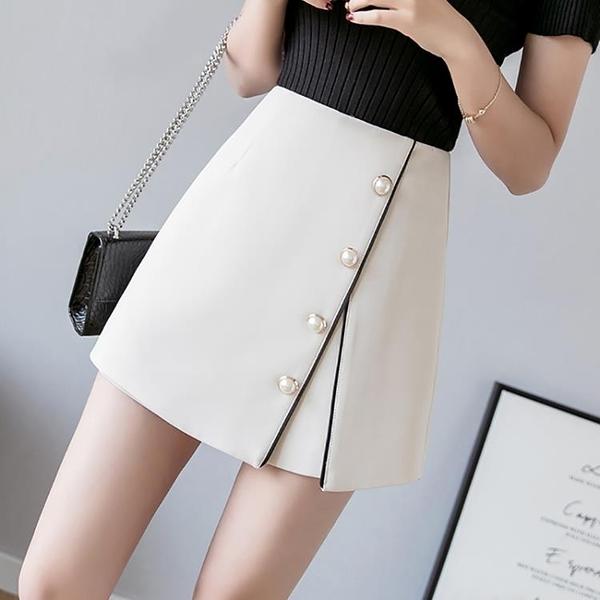 短裙 時尚chic高腰顯瘦裙子短裙A字裙半身裙女褲裙2021春款女裝A型半裙