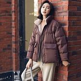 羽絨夾克-白鴨絨-立領短款簡約寬鬆女外套3色73zc29【時尚巴黎】