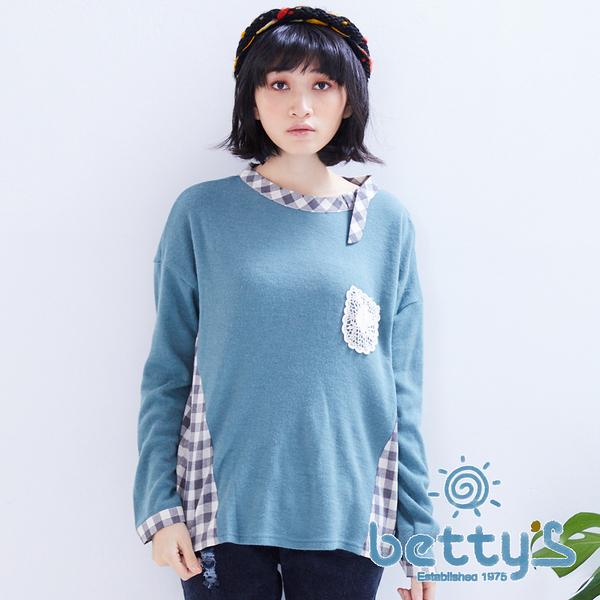 betty's貝蒂思 花朵圖樣領口拼接格子針織衫(綠色)