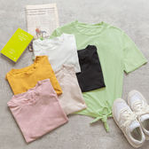 MUMU【T29140】腰部小綁帶多色圓領上衣。六色