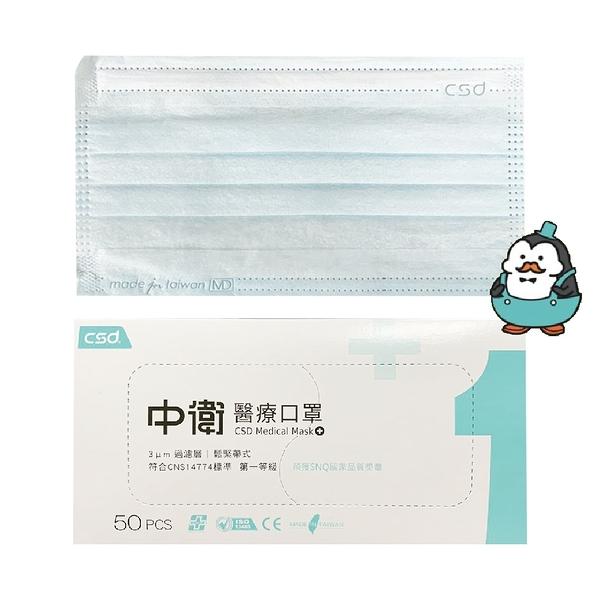 中衛 醫療口罩 50片/盒 (成人藍色) 醫用口罩