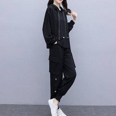 中大尺碼實拍早秋新款年大碼洋氣顯瘦網紅衛衣工裝褲兩件套裝7806.4F082.依品國際