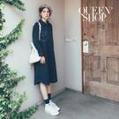 Queen Shop【01084597】工裝襯衫素面洋裝 兩色售*現+預*
