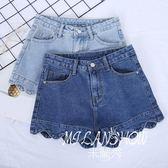 夏季新款牛仔短褲女修身波浪邊花邊寬松韓版百搭學生闊腿熱褲