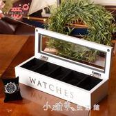 飾品實木質五格手錶盒首飾收納盒收藏盒儲物盒白黑棕色 小確幸生活館