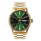 NIXON The SENTRY SS 復刻潮流都會休閒腕錶-綠x金