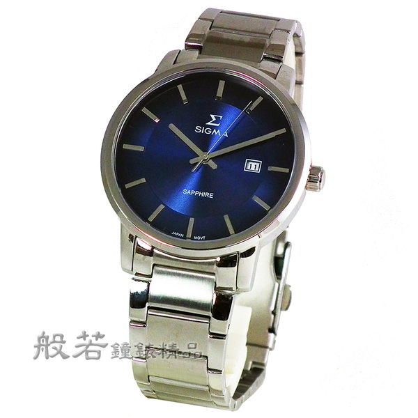 SIGMA 經典日系男錶-銀x藍