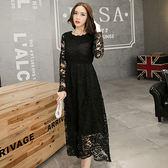 中大尺碼~圓領顯瘦蕾絲長袖洋裝(XL~3XL)