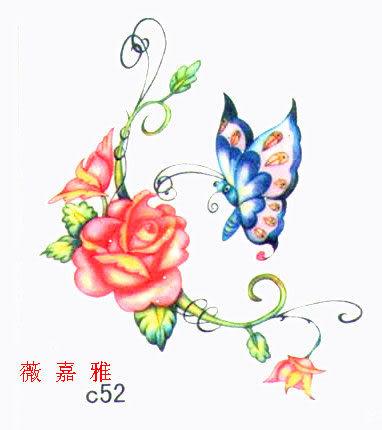 薇嘉雅 玫瑰花 蝴蝶 超炫圖案紋身貼紙 c52