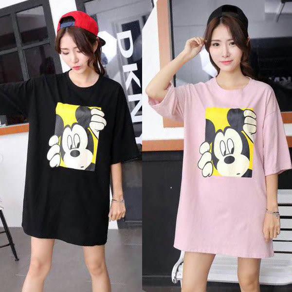 BOBO小中大尺碼【80134】寬版卡通鼠探頭長版短袖T恤 共3色