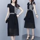 輕熟風洋裝 大碼連身裙女夏季收腰顯瘦氣質輕熟風黑色雪紡夏天裙子-Ballet朵朵