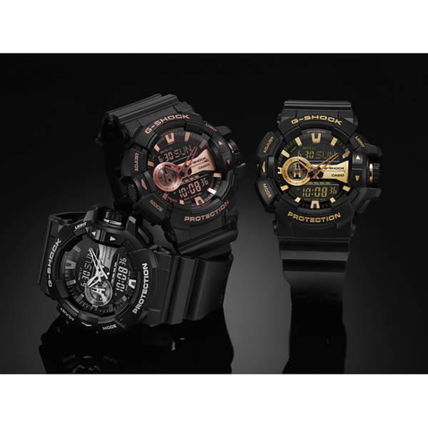 CASIO卡西歐 G-SHOCK 金屬系雙顯手錶-玫瑰金x黑 GA-400GB-1A4 / GA-400GB-1A4DR