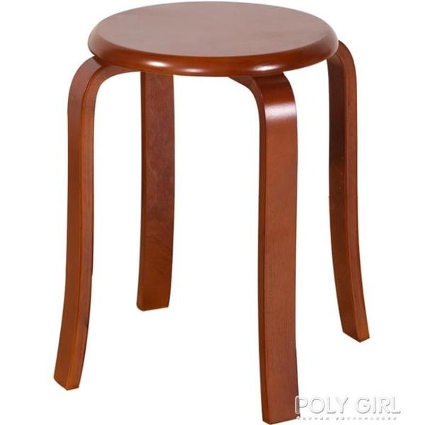 簡約木頭高家用凳子實木餐桌凳時尚小圓凳子矮凳板凳成人椅子木凳 polygirl