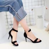 高跟涼鞋 韓版女鞋細跟細帶百搭包跟高跟一字扣涼鞋夏季《小師妹》sm2025