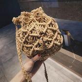 編織包 編織包包女包新款2019潮麻繩鏤空水桶包休閑百搭草編包單肩斜挎包