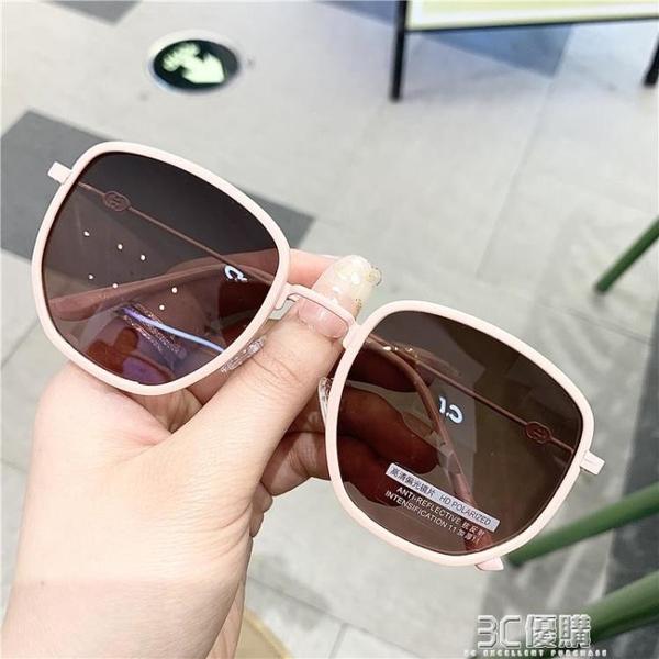 2021新款女士偏光太陽鏡個性圓形眼鏡時尚金屬大框韓版潮搭配墨鏡 3C優購