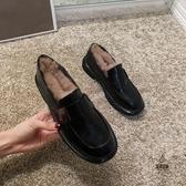 復古英倫風小皮鞋女加絨黑色秋冬百搭毛毛鞋【愛物及屋】