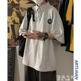 韓版ins潮流半截袖Polo衫寬鬆夏季新款男士短袖T恤潮 雙十二全館免運