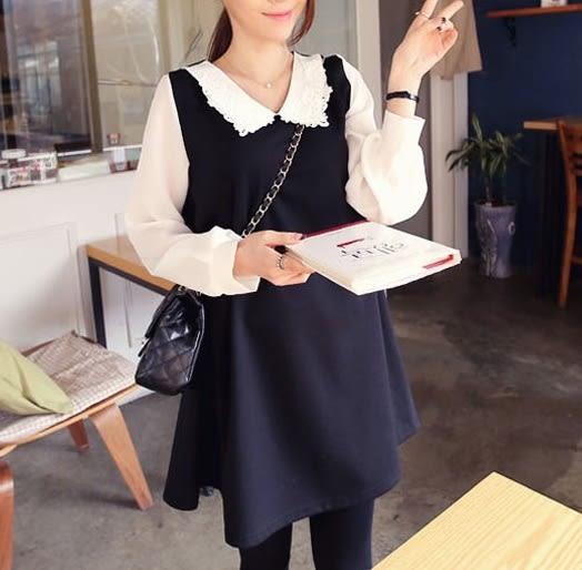 *魔法之城*EQC20韓版時尚娃娃領鉤花長袖中長款孕婦洋裝裙