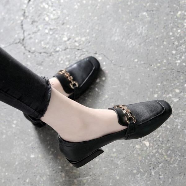 女鞋秋季2020新款英倫小皮鞋女軟皮百搭粗跟單鞋女樂福鞋 【端午節特惠】