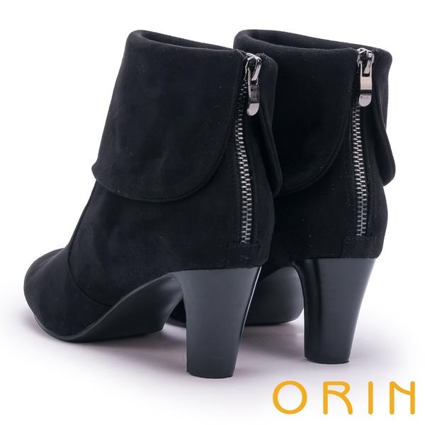 ORIN 經典儁永 復古反折麂皮布高跟短靴-黑色
