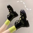 短靴 馬丁靴女夏季薄款百搭繫帶學院風厚底鏤空短靴子-Ballet朵朵