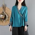 中國風文藝復古棉麻上衣女春裝民族風長袖漢服小開衫中式茶服襯衫 設計師