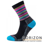 【HORIZON】女 MERINO PREMIUM羊毛輕量健行襪 HO-2310『灰黑/紫紅條紋』休閒|保暖襪|羊毛