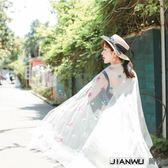 長款紗巾繡花絲巾女花朵圍巾披肩